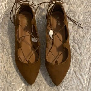 Brown lace up flats size 6